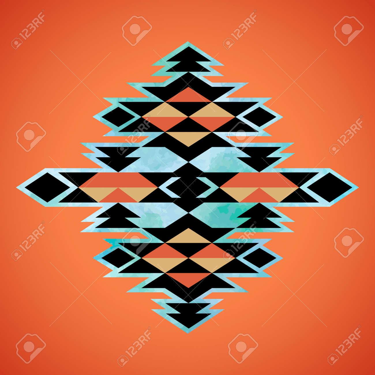 Navajo aztec textile inspiration pattern. Native american indian tribal hand drawn art. - 38669601