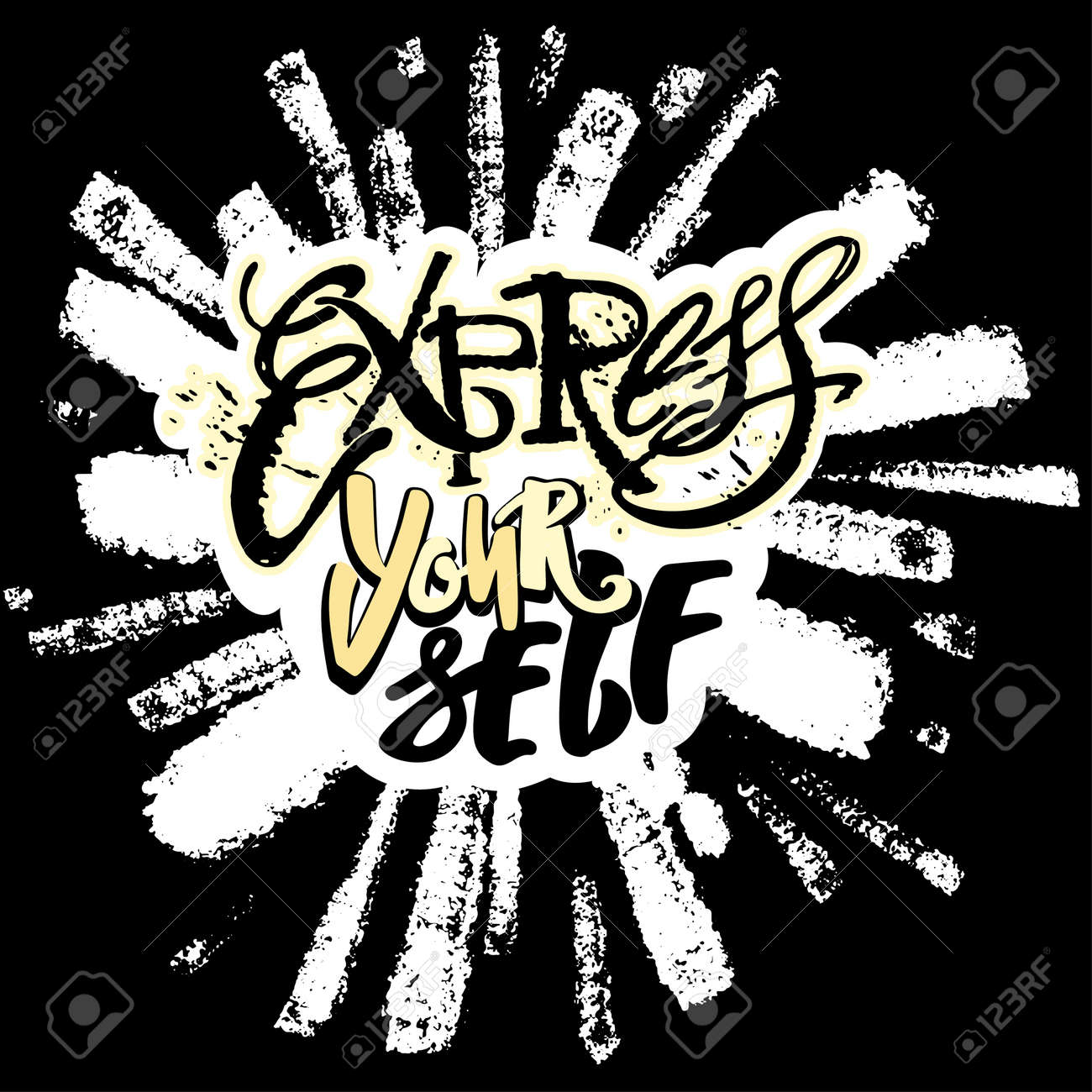 Express yourselflieve and do create art motivatorhand lettering express yourselflieve and do create art motivatorhand lettering vector illustration poster solutioingenieria Images