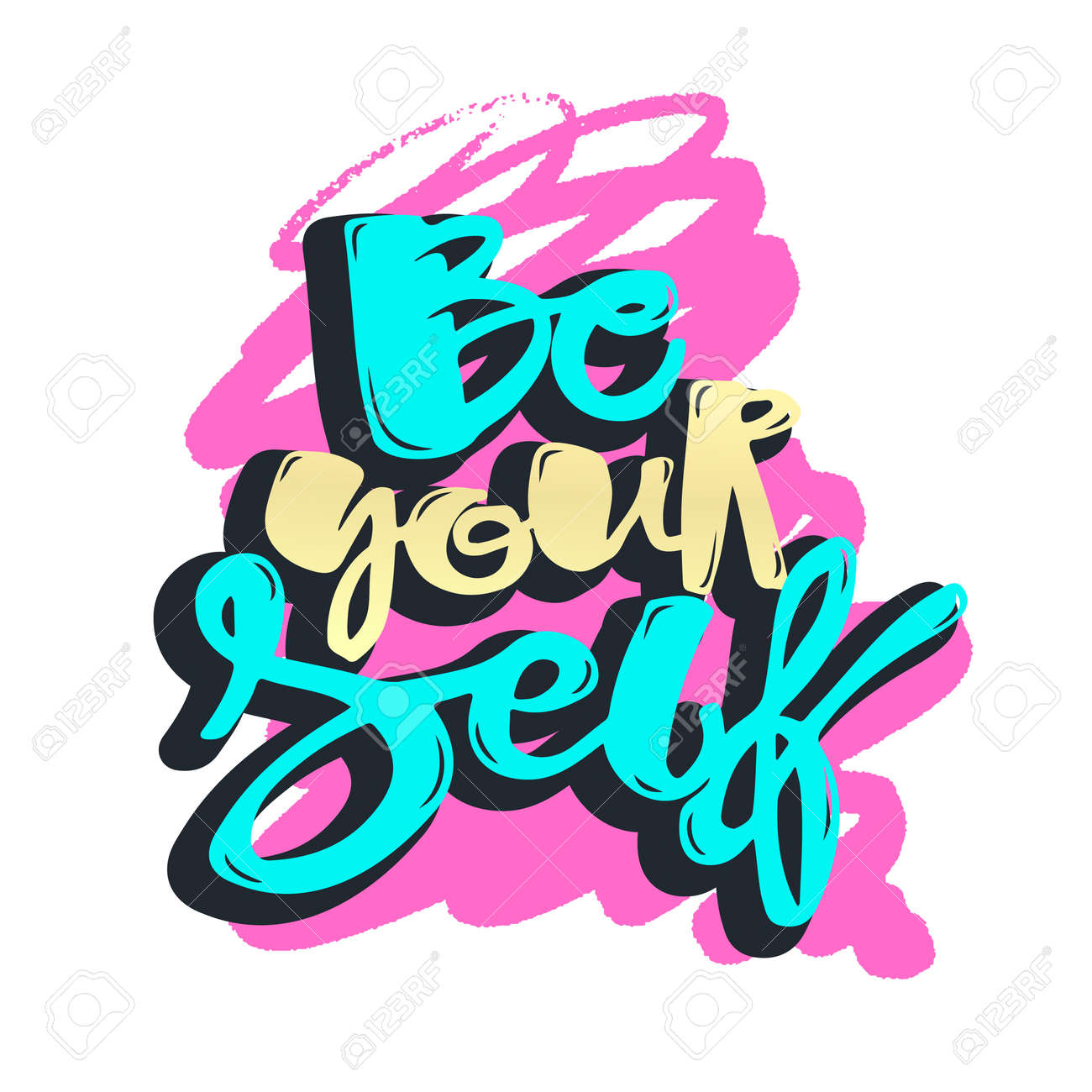 Design poster yourself - Lettering Be Yourself Motivation Poster Handdrawn Sign Greeting Cards Invitations Posters