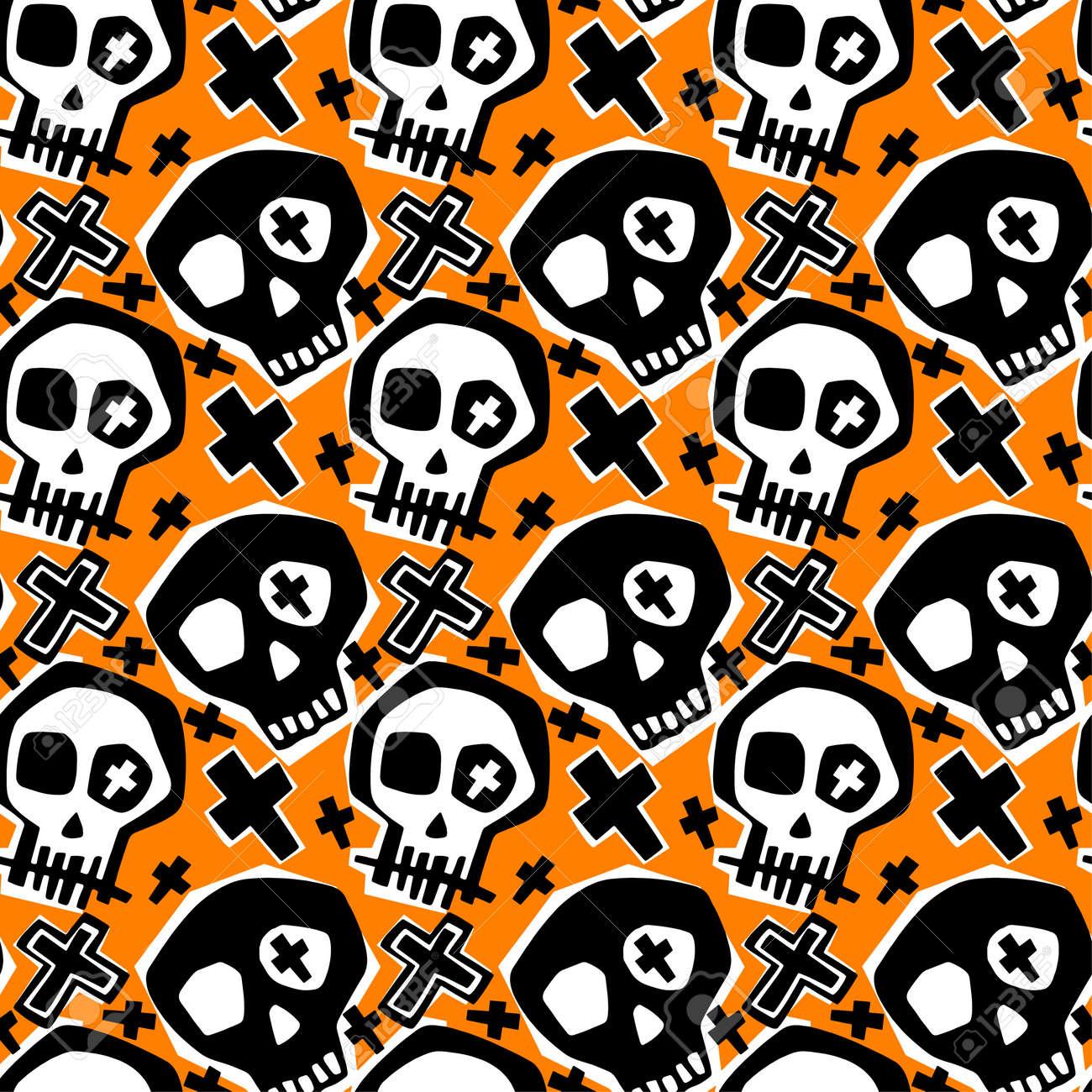 Skull Funky Boys And Girls Apparel Modern Print Seamless Graffiti