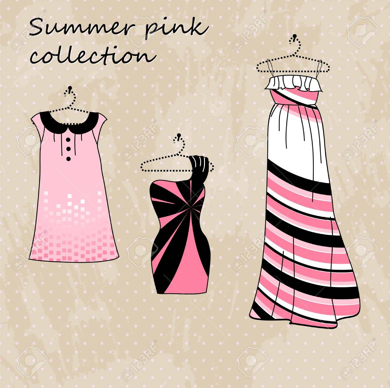 Set of three dresses in pink and black color Stock Vector - 10191213