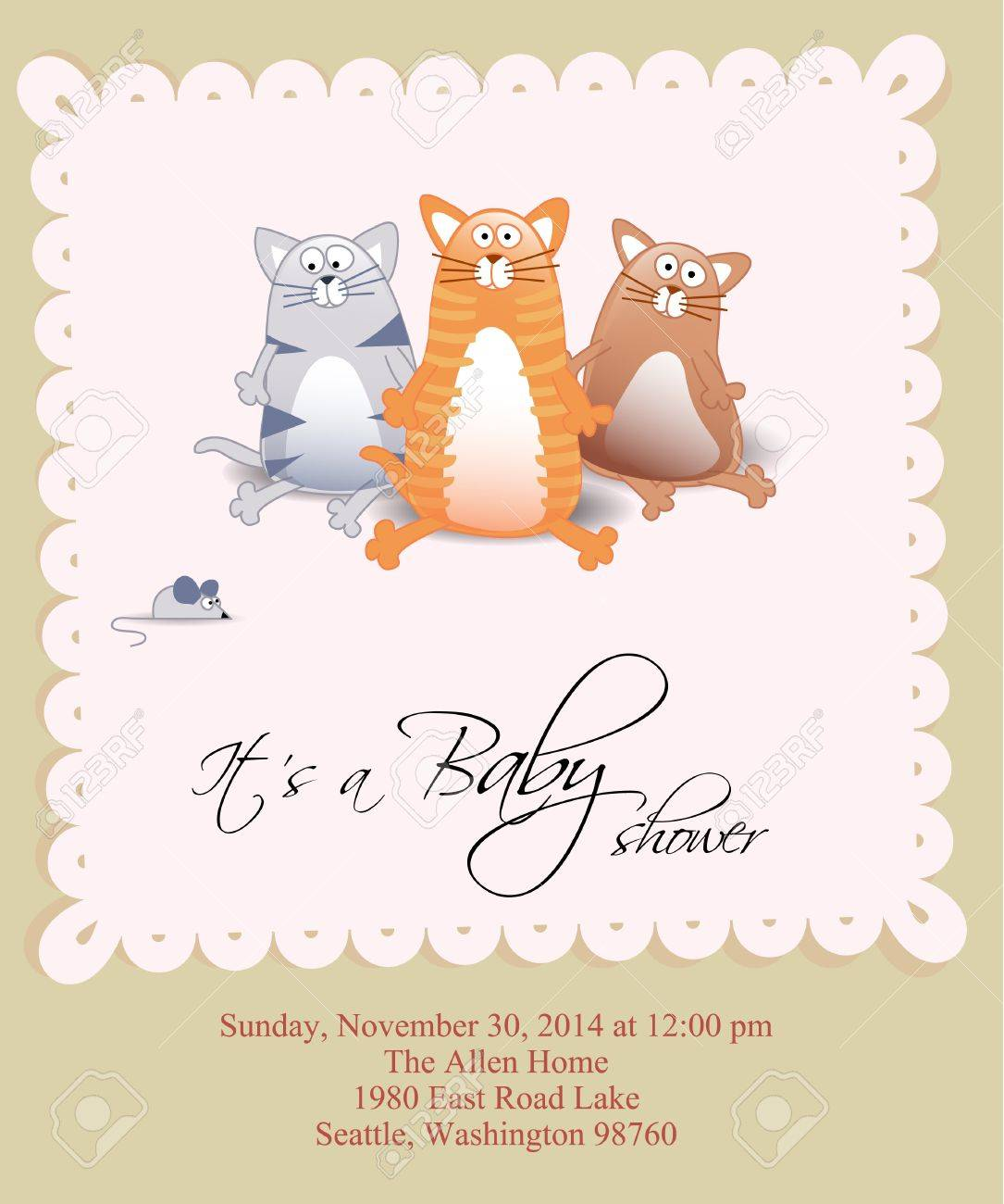 Vector baby shower card with three cats and mouse Stock Vector - 10191214
