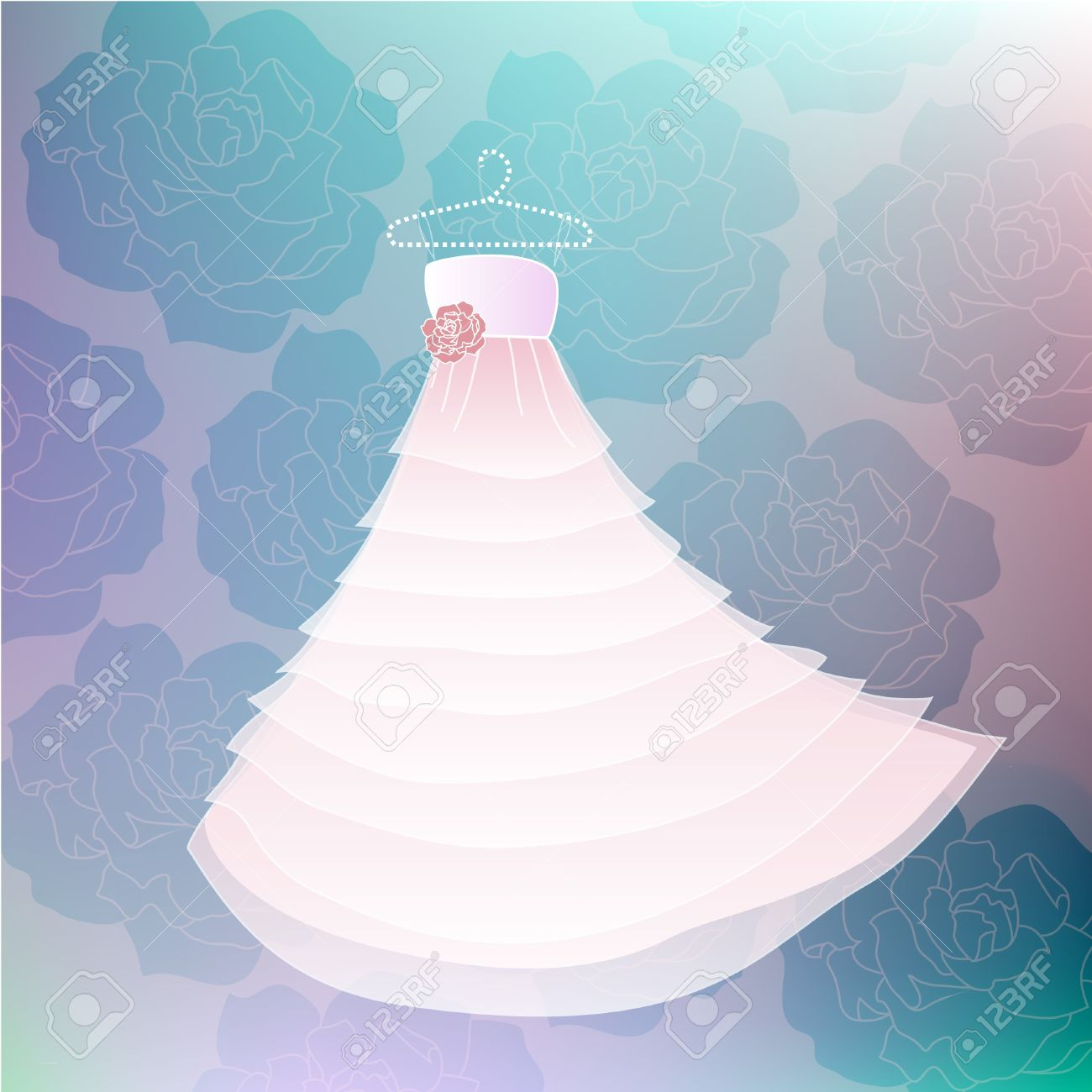 Vector Wedding White Dress With Rose Background In Blue Colors ...