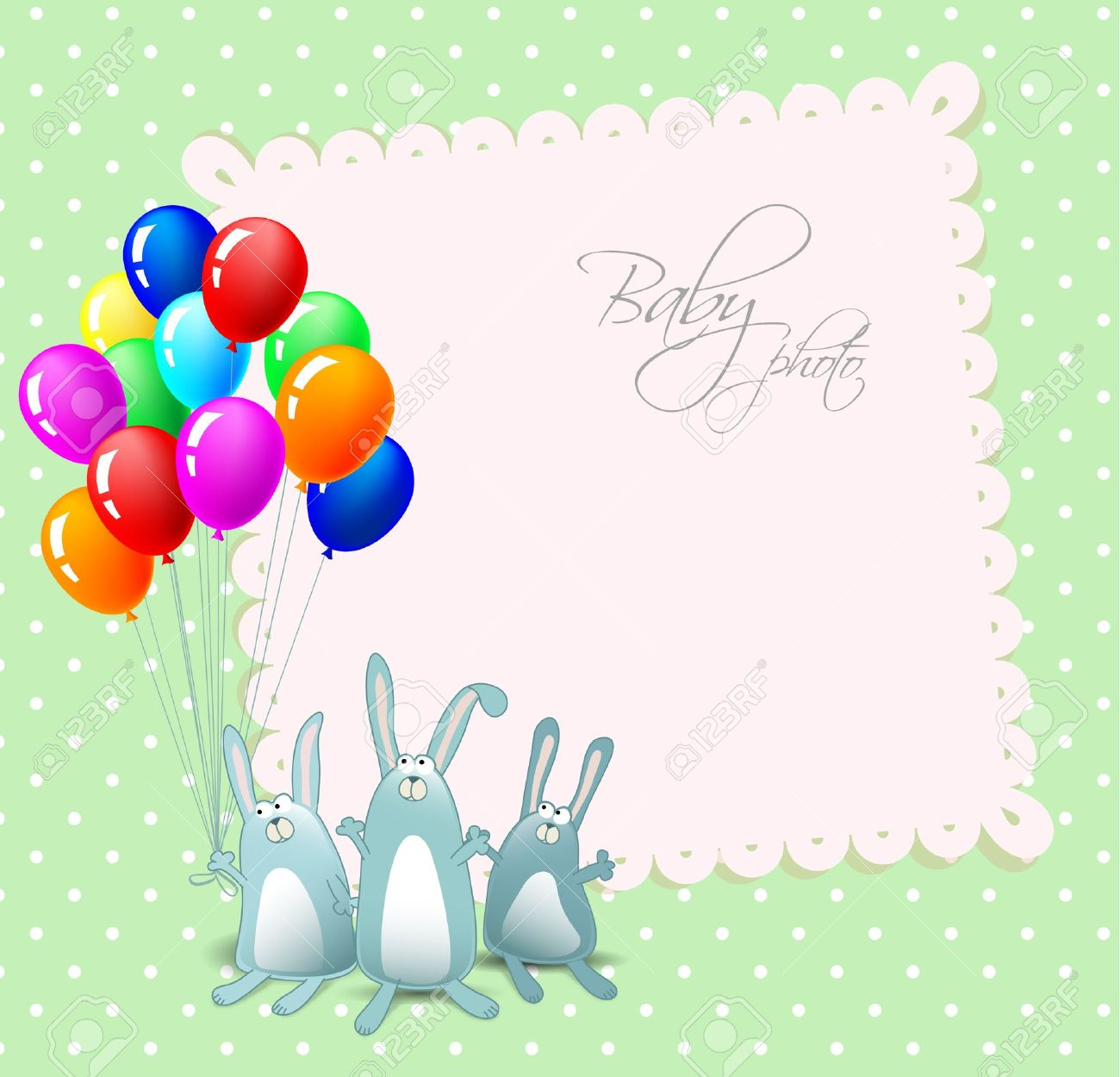 Happy Birthday Card With Rabbits And Balloons Stock Vector