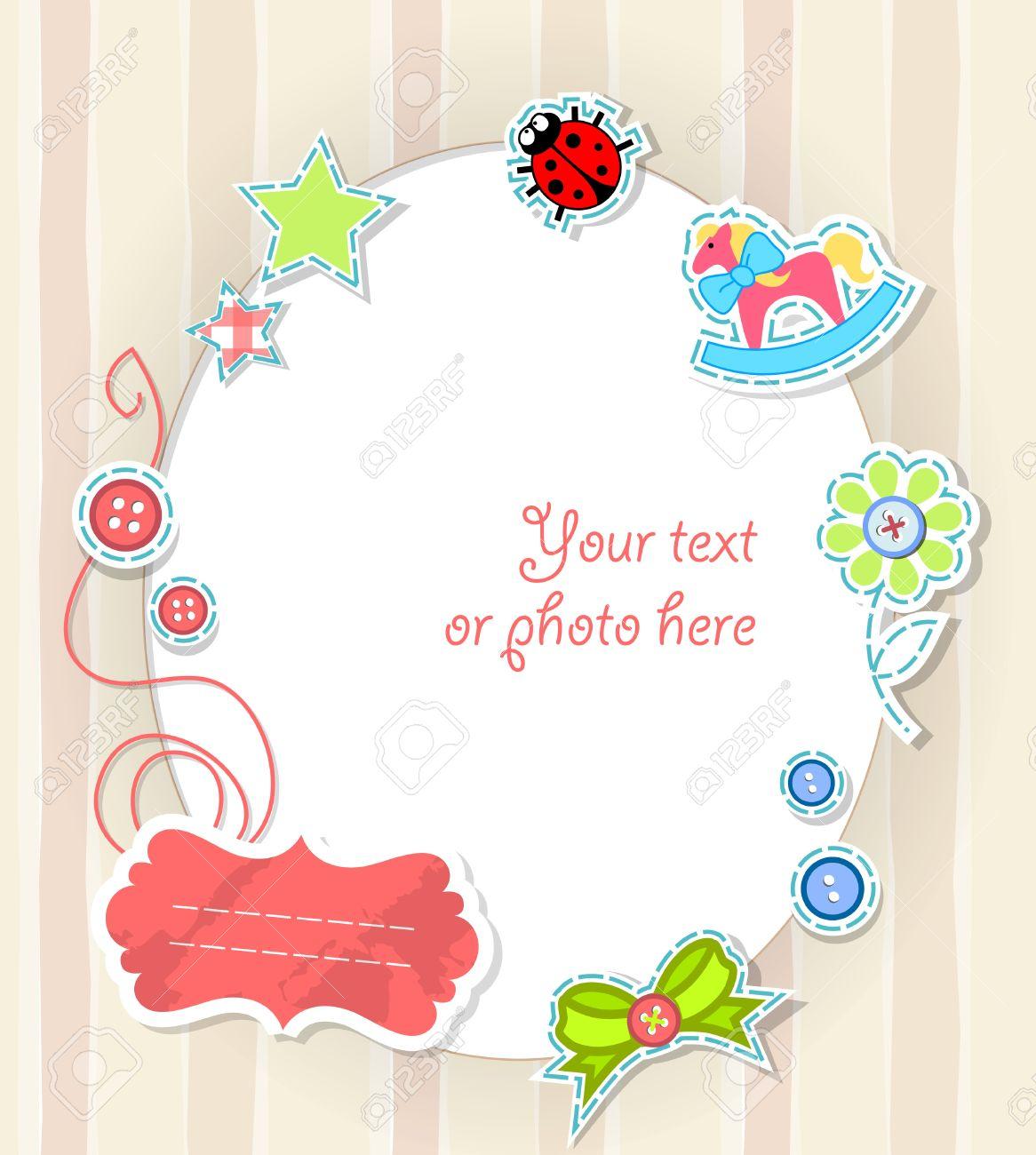 How to scrapbook greeting cards - Vector Vector Scrapbooking Card For Baby In Beige