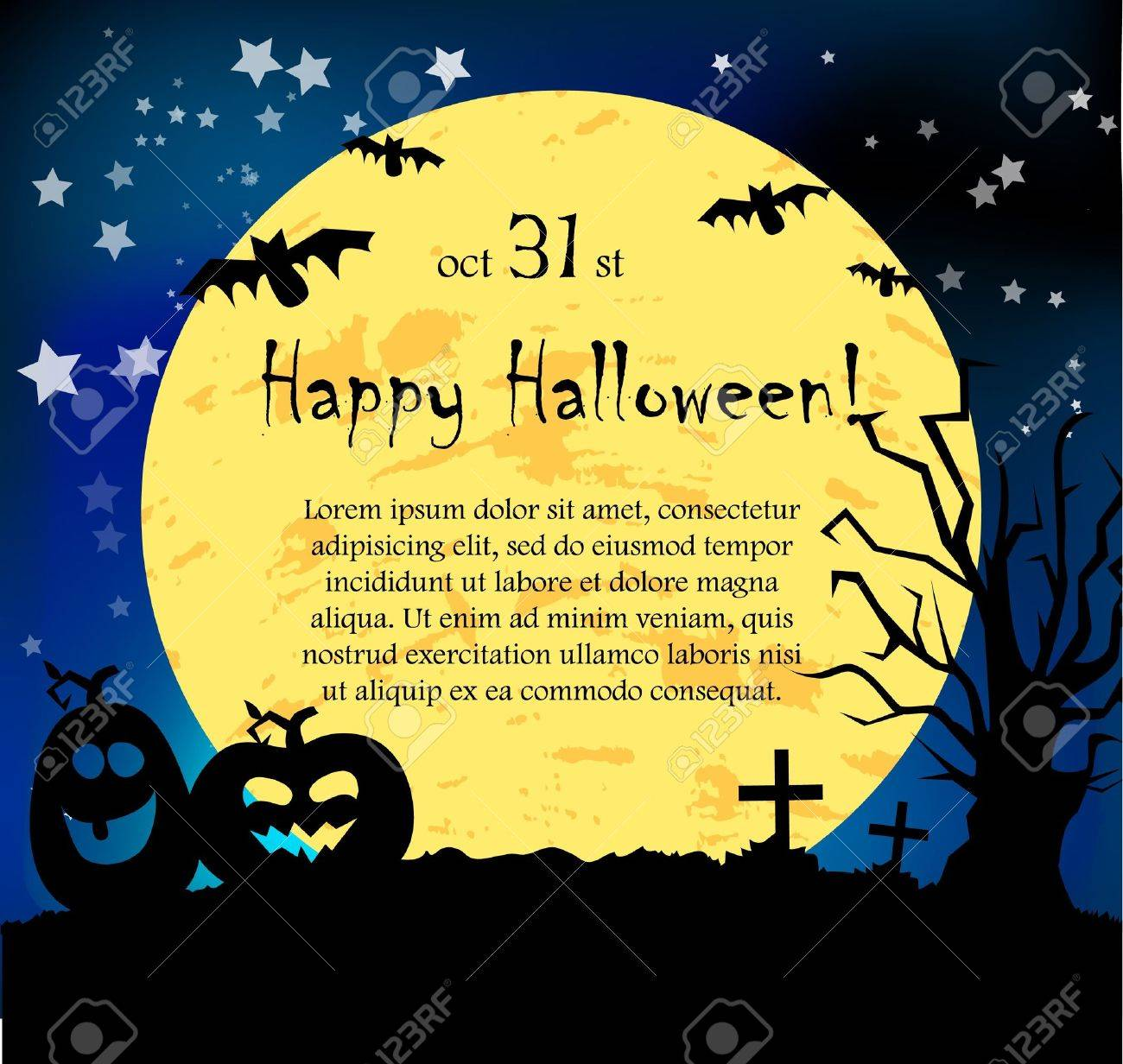Vector Halloween Card With Pumpkins Royalty Free Cliparts, Vectors