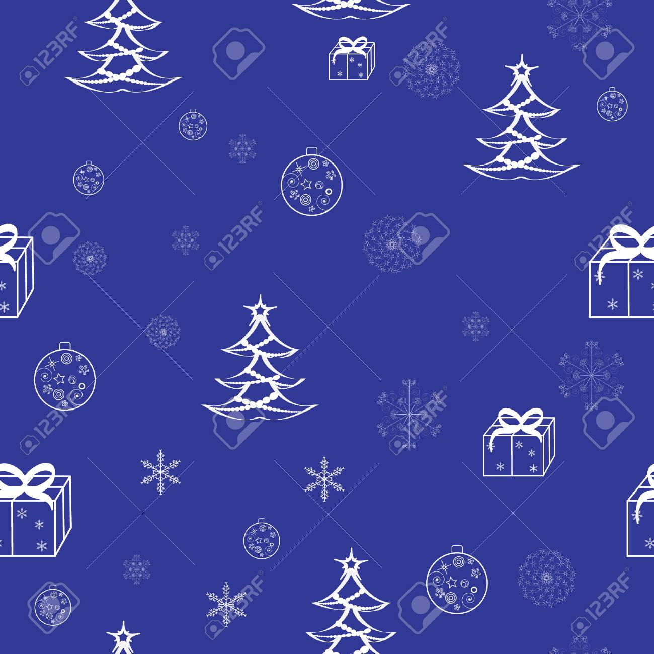 Blue christmas seamless pattern Stock Vector - 3851356
