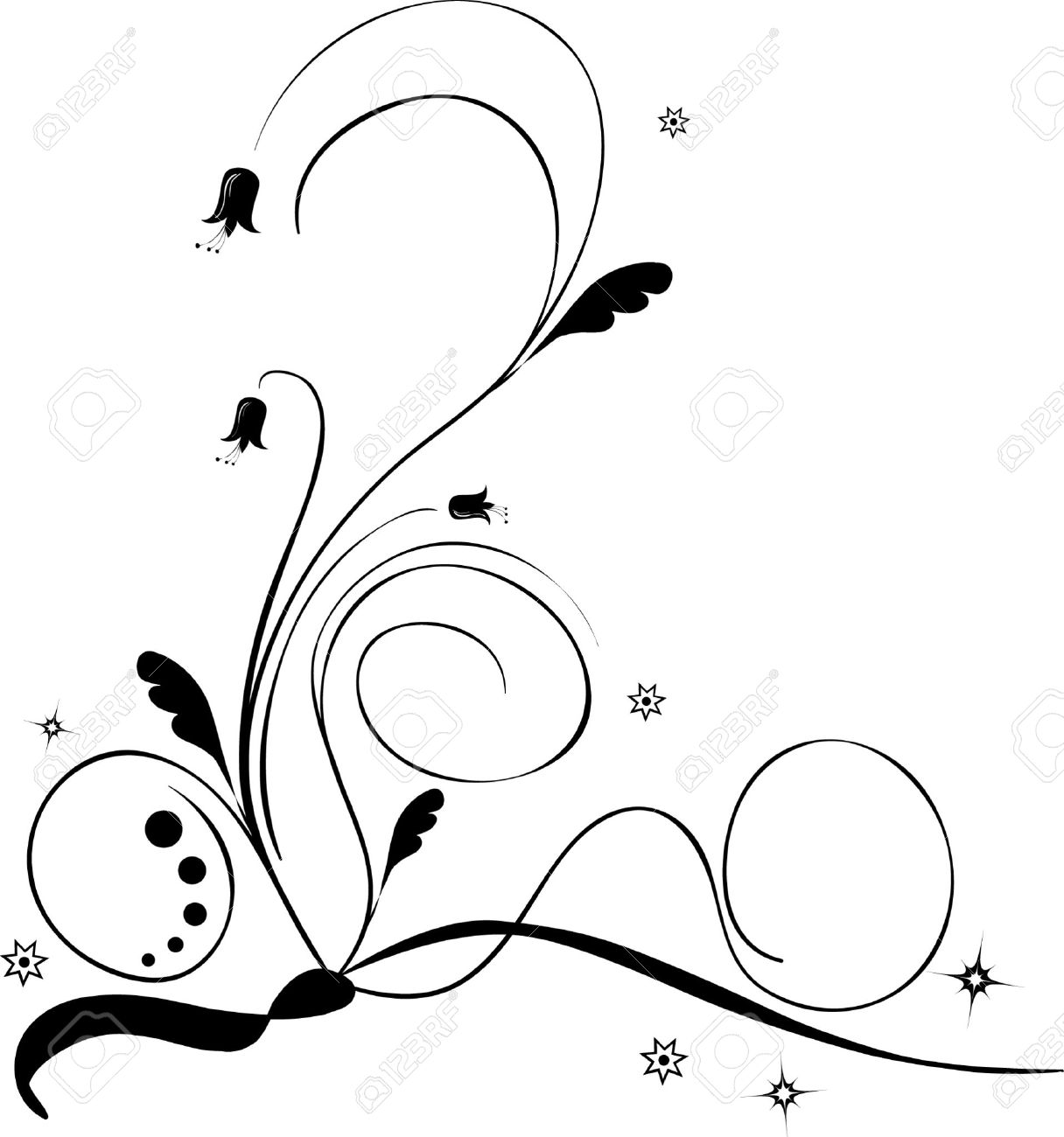 Vector illustration of a black and white floral pattern Stock Vector - 4004629
