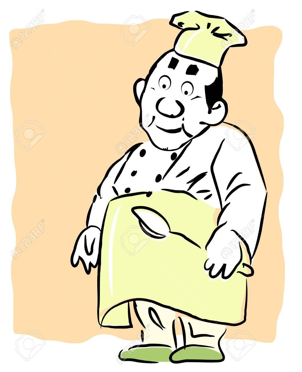 Una ilustración de dibujos animados la celebración de una cuchara de cocina en sus manos Foto de archivo - 4361678