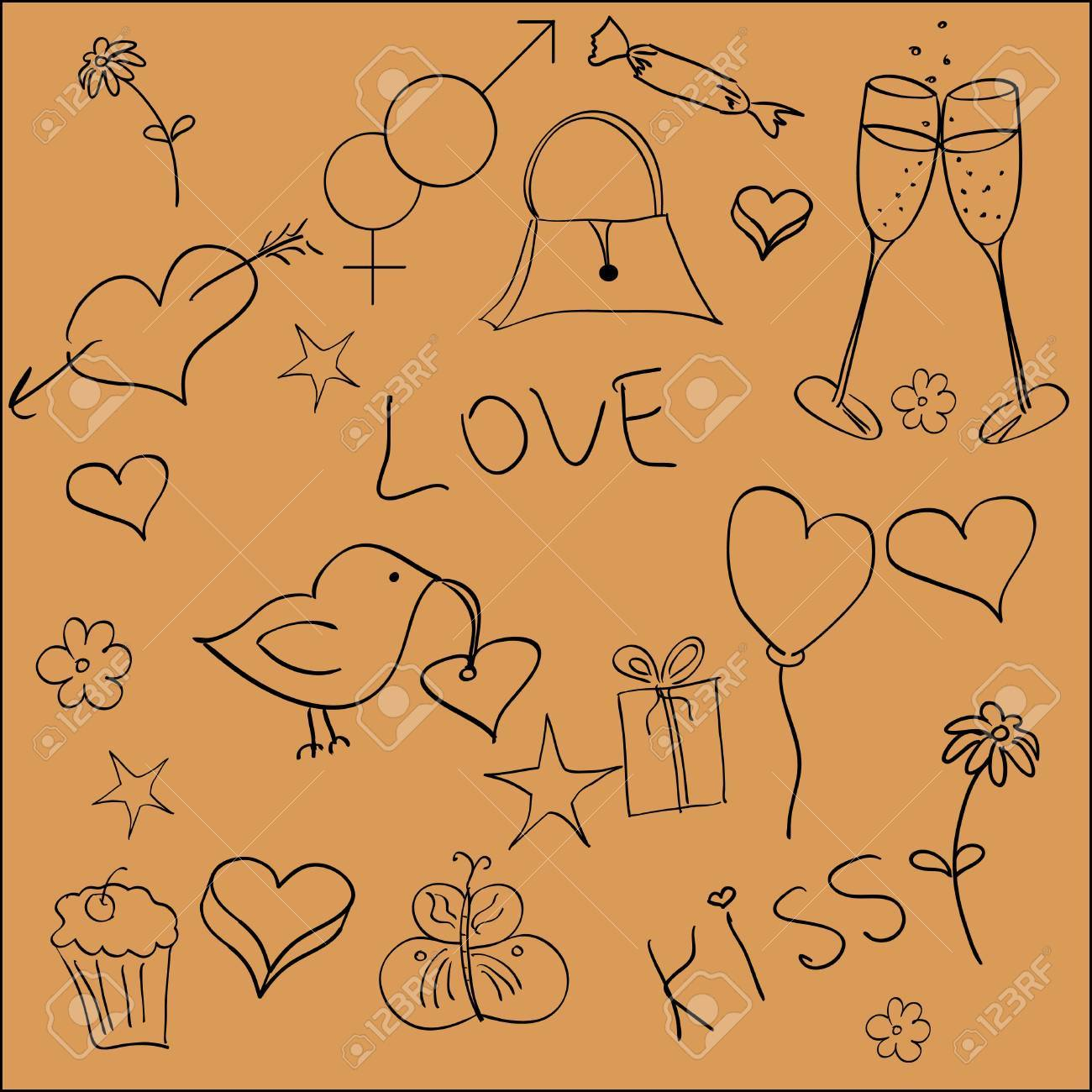 A set of handdrawn St.Valentine elements Stock Vector - 12195476
