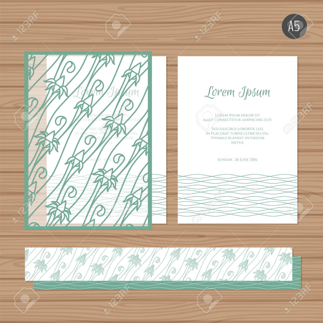 Wedding Invitation Or Greeting Card With Floral Ornament. Paper ...