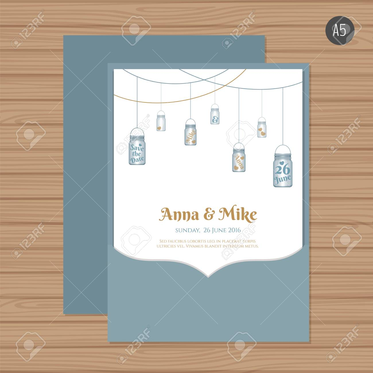 Wedding Invitation Or Greeting Card With Mason Jar. Vector ...