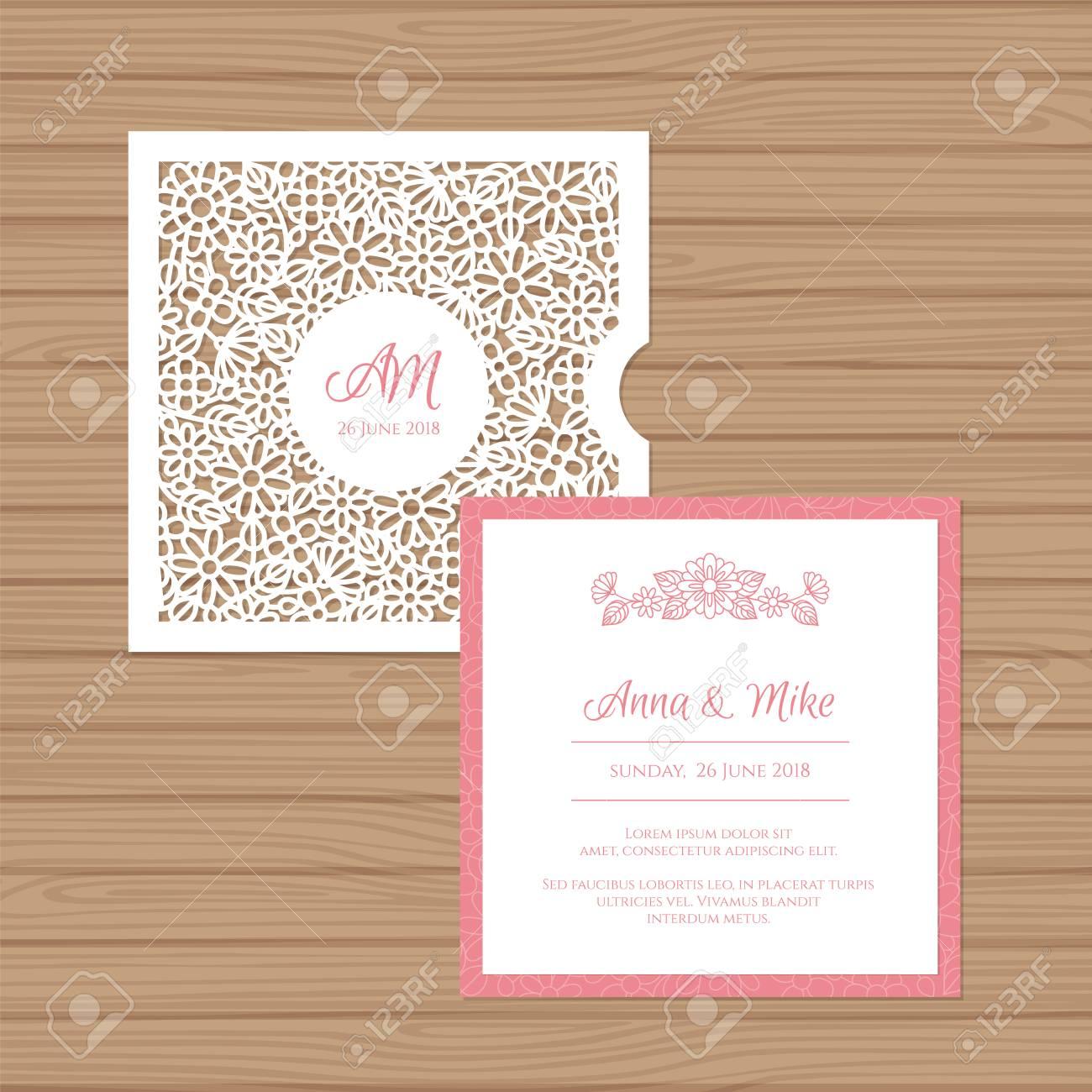 Wedding Invitation Or Greeting Card With Flower Ornament. Cut ...
