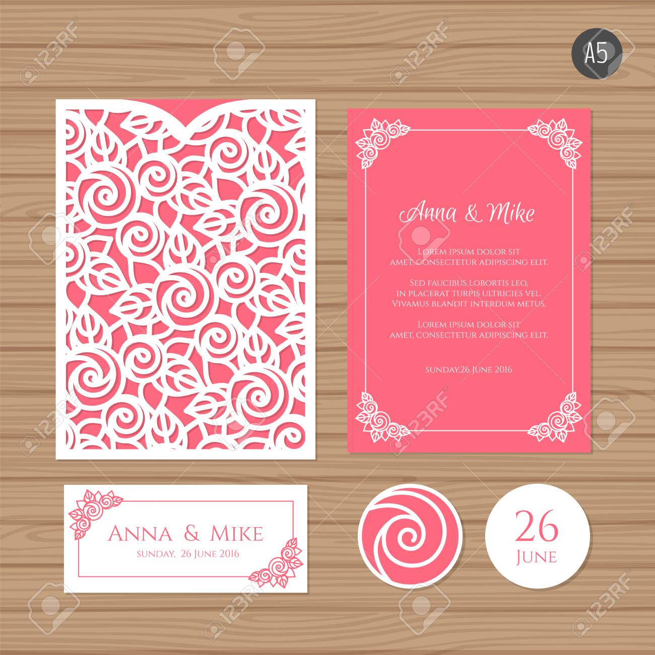 Wedding Invitation Or Greeting Card With Floral Ornament Paper