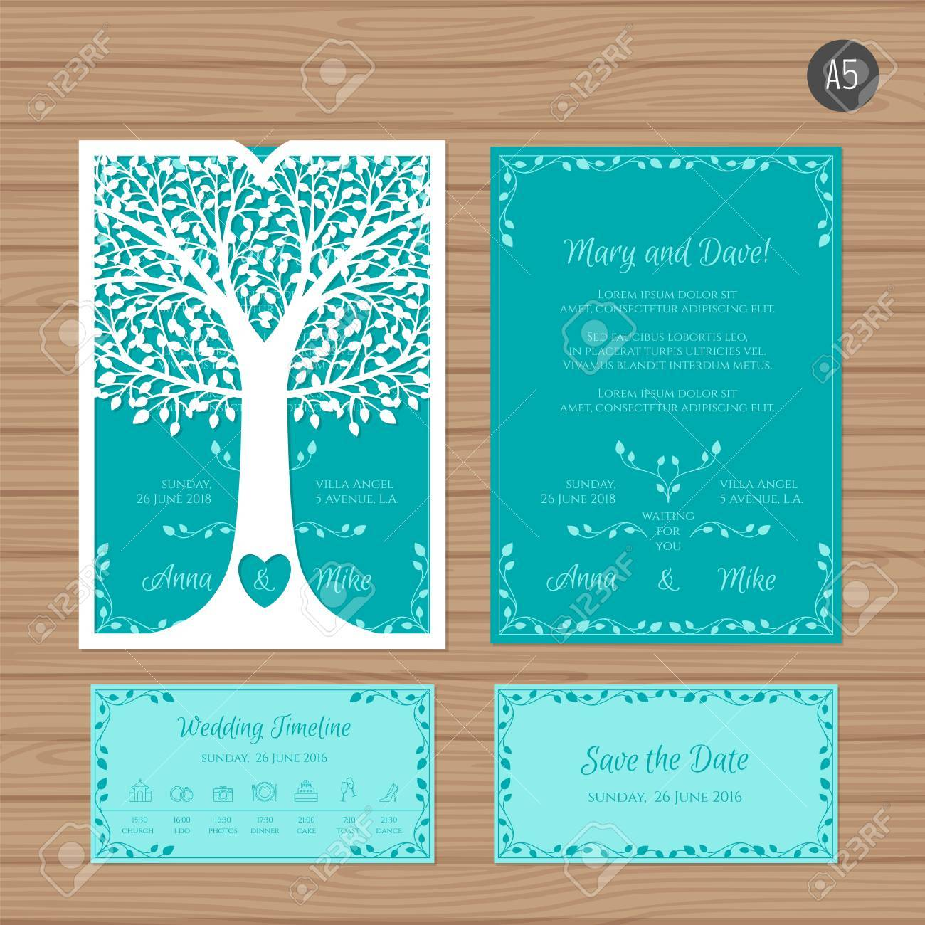 Wedding invitation or greeting card with tree paper lace envelope vector wedding invitation or greeting card with tree paper lace envelope template wedding invitation envelope mock up for laser cutting stopboris Image collections