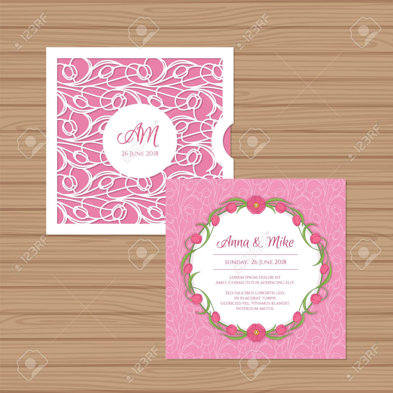 wedding invitation or greeting card with flower ornament cut
