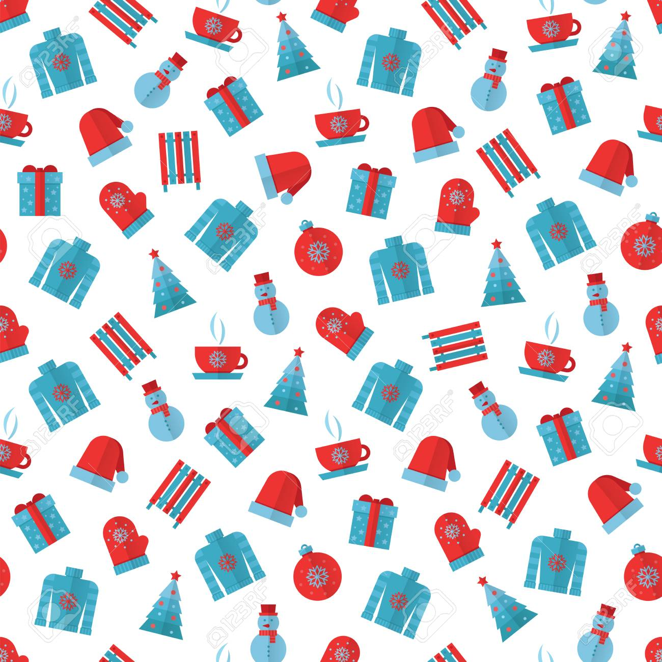 Colors Christmas.Winter Seamless Pattern Blue And Red Colors Christmas Seamless