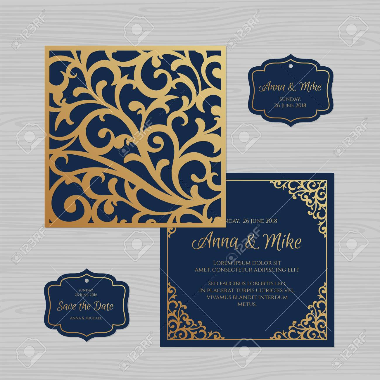 wedding invitation or greeting card with vintage ornament paper
