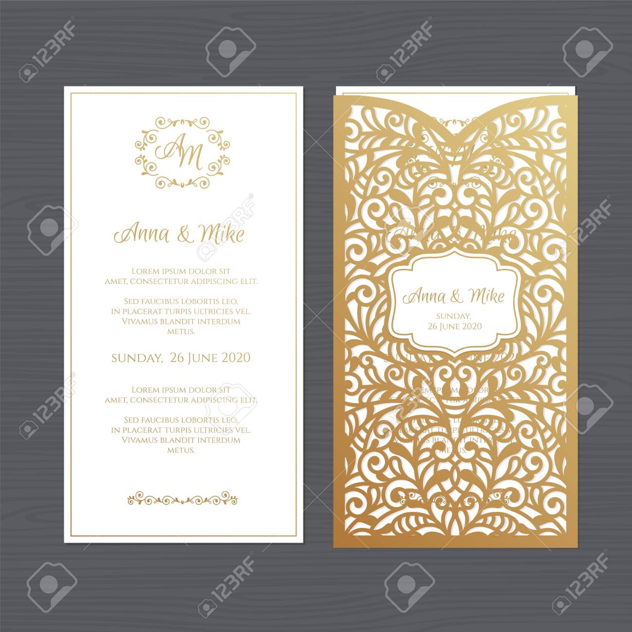 Luxury wedding invitation or greeting card with vintage floral ornament. Paper lace envelope template. Wedding invitation envelope mock-up for laser cutting. Vector illustration. - 106033680