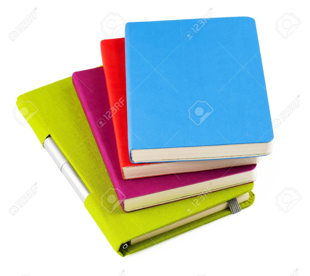 Colourful notebooks with open notebook and ballpoint pen isolated on white background Stock Photo - 18011003