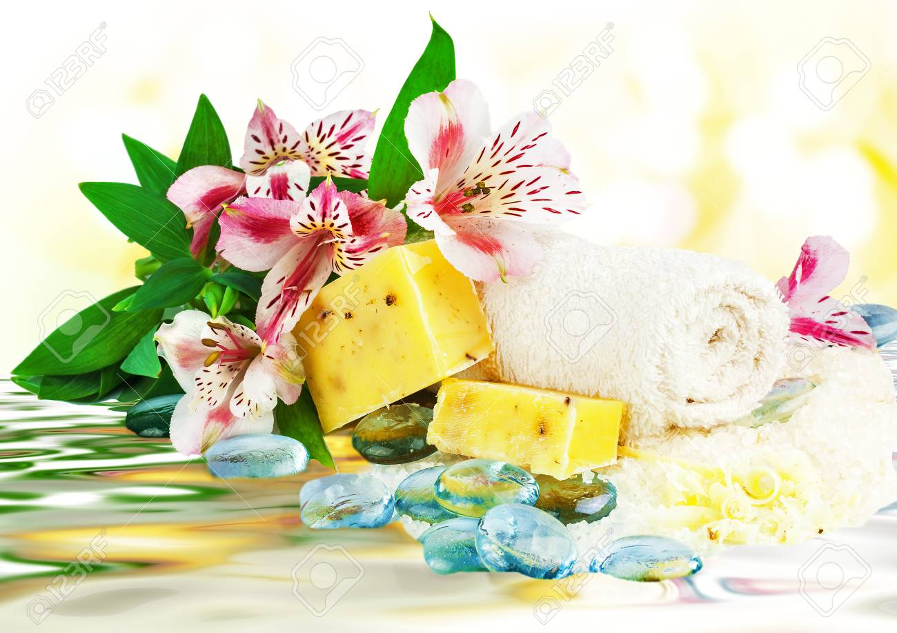 Spa concept with flowers and water Stock Photo - 18011041