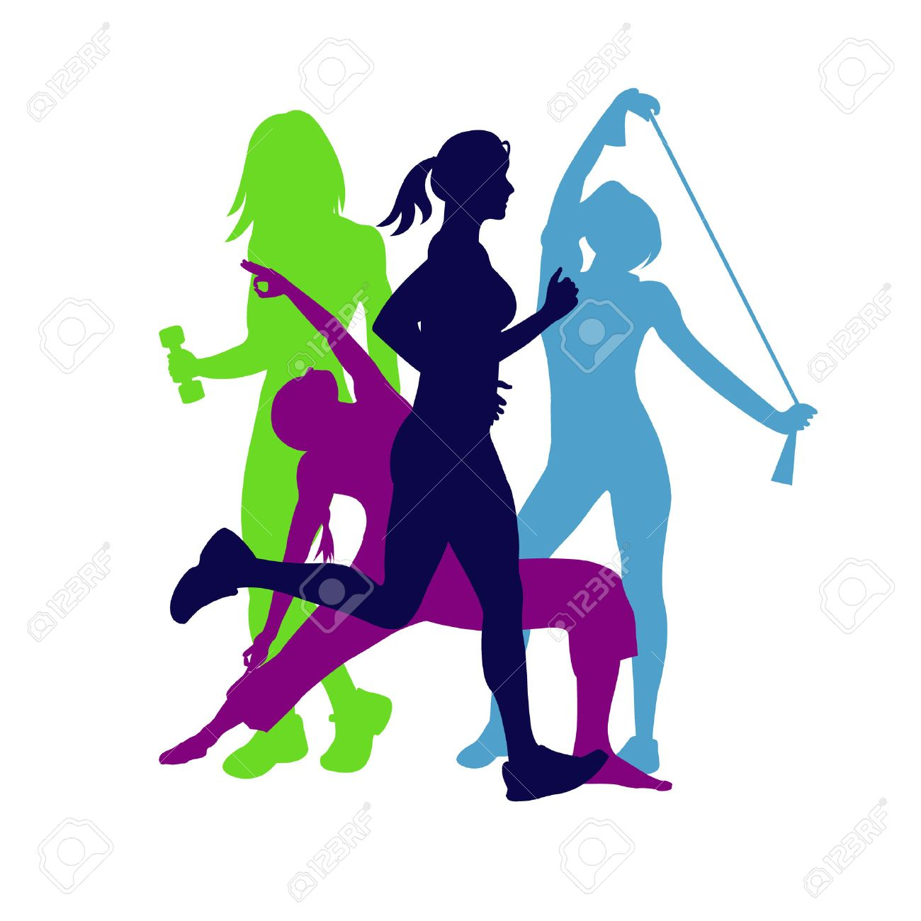 fitness emblem, woman silhouette, illustration - 53862974