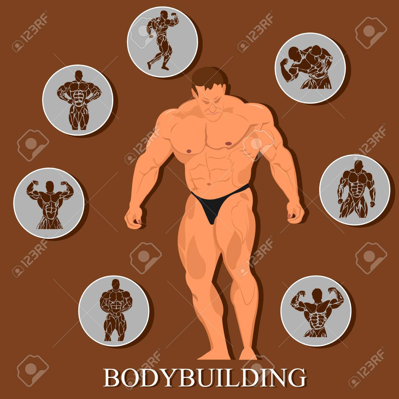 Bodybuilding Template, Man With Set Of Icons. Vector Illustration ...