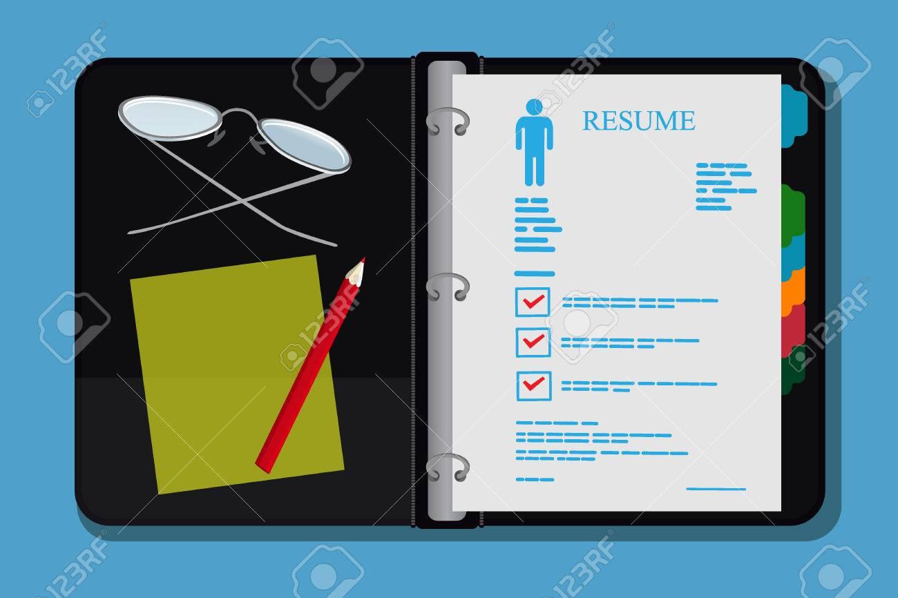 resume Folder For Resume open archive folder resume cv vector illustration royalty free stock 54728687