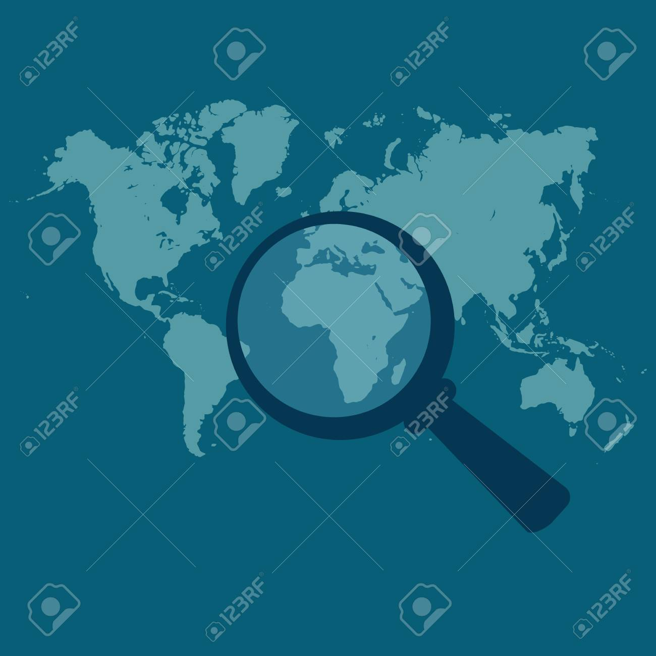 World map magnified vector illustration in flat design for vector world map magnified vector illustration in flat design for web sites infographic design gumiabroncs Gallery