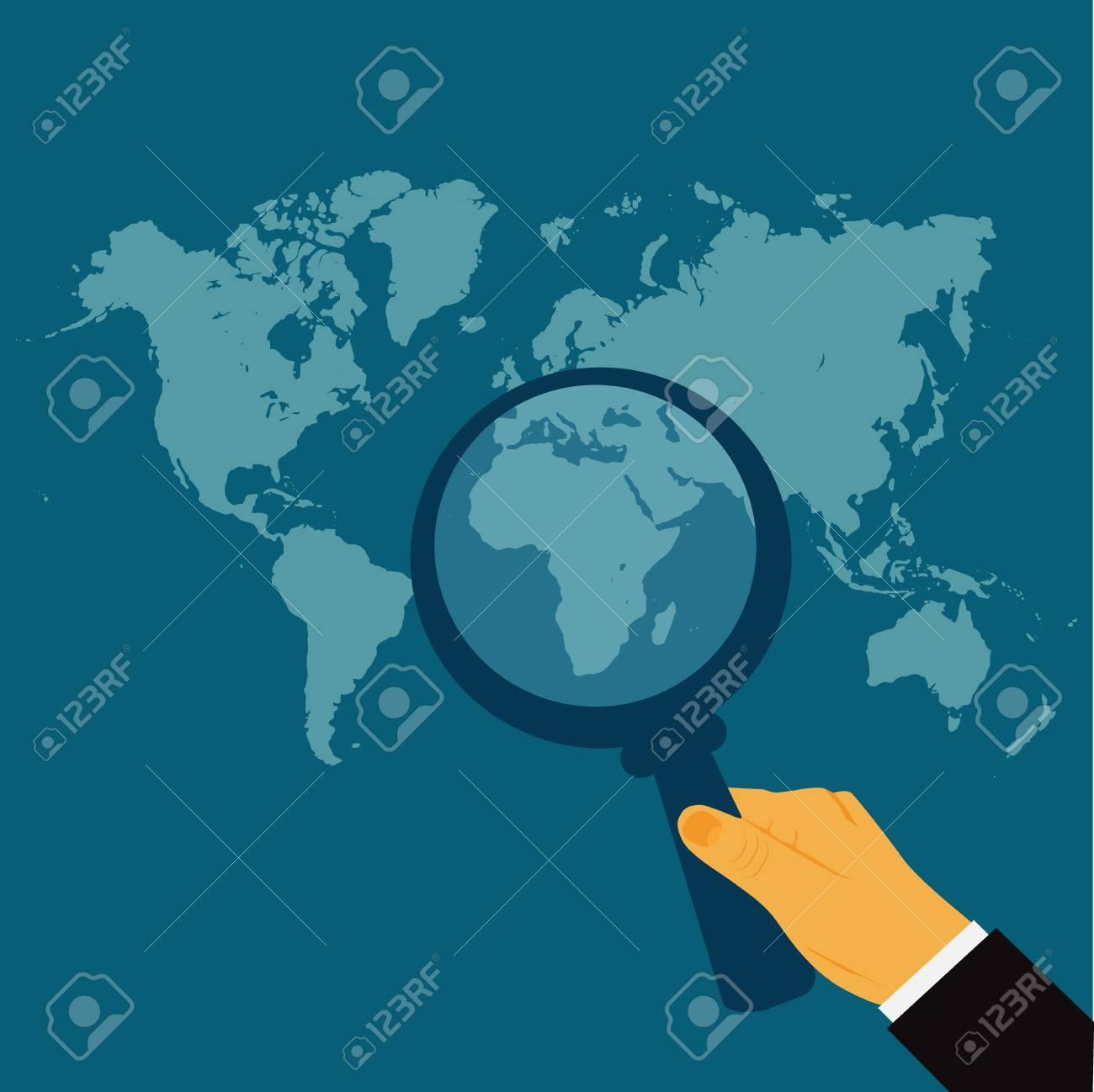 Search World Map.Hand Holding Magnify Glass World Map Search Vector Illustration