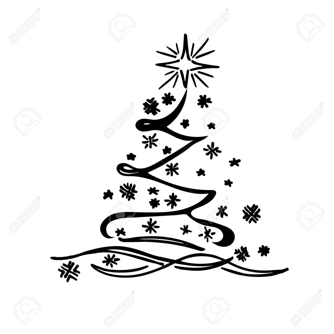 Christmas tree sketch vector stock vector 54729638