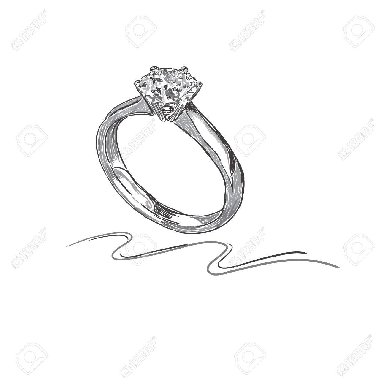 wedding ring, sketch, vector illustration - 54951428