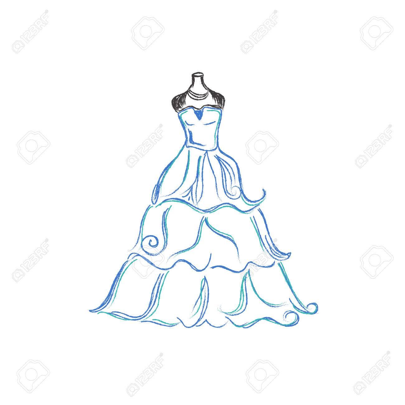 Wedding, Dress, Sketch, Vector Illustration On White Background ...