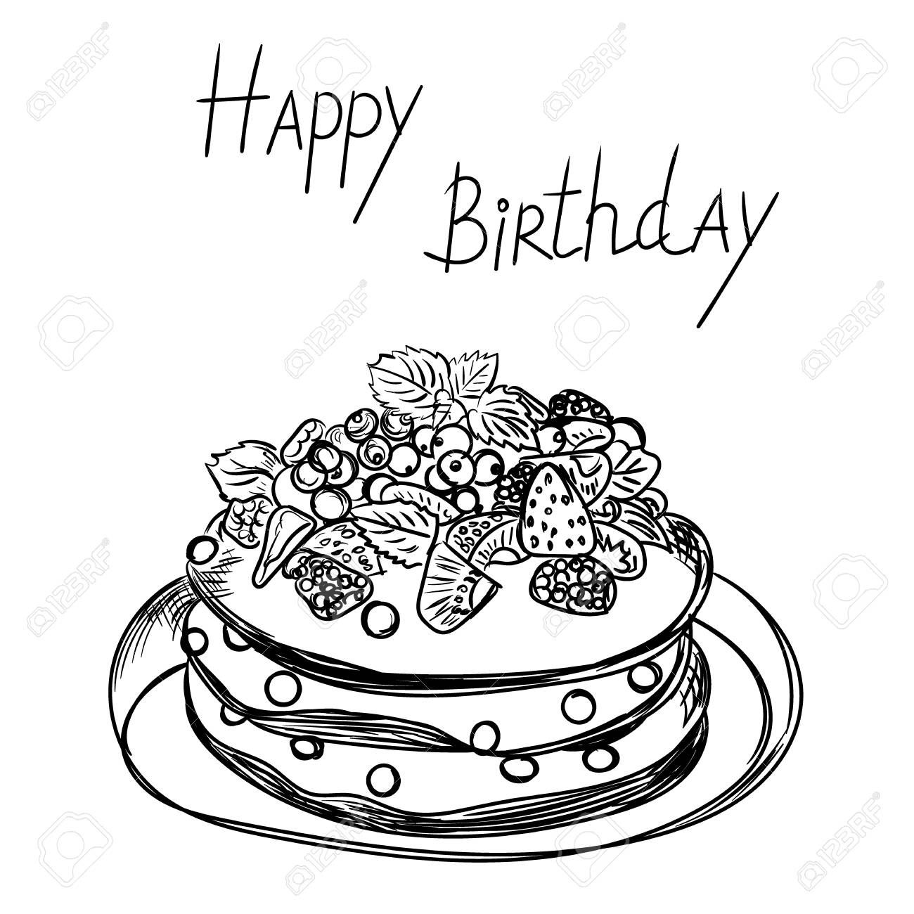 Birthday Cake In Sketch Style Royalty Free Cliparts Vectors And