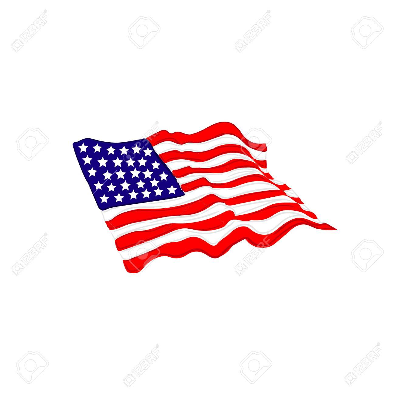 Bandera De Estados Unidos Estados Unidos Estilo De Dibujo Ilustración Vectorial