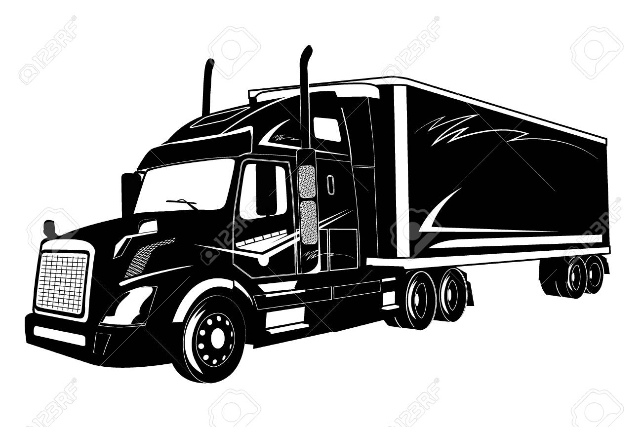 icon of truck semi truck vector illustration royalty free cliparts
