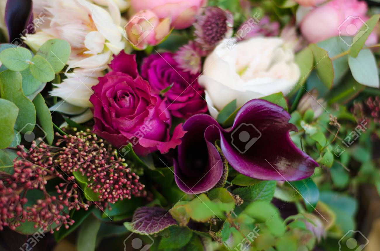 Beautiful Wedding Boho Bouquet Of Red And Pink Flowers And Greens Stock Photo Picture And Royalty Free Image Image 47659035