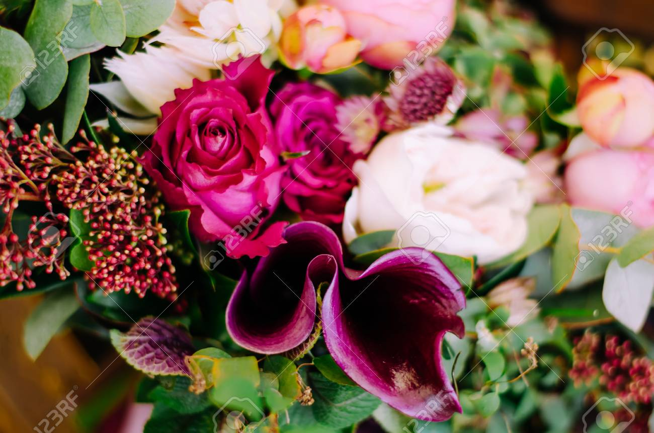 Beautiful Wedding Boho Bouquet Of Red And Pink Flowers And Greens Stock Photo Picture And Royalty Free Image Image 47659084