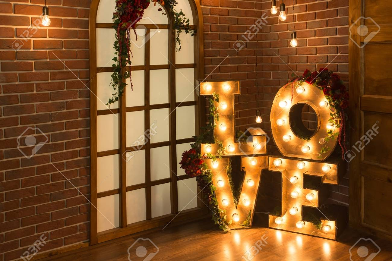 Love Light Sign Love Brick wall with
