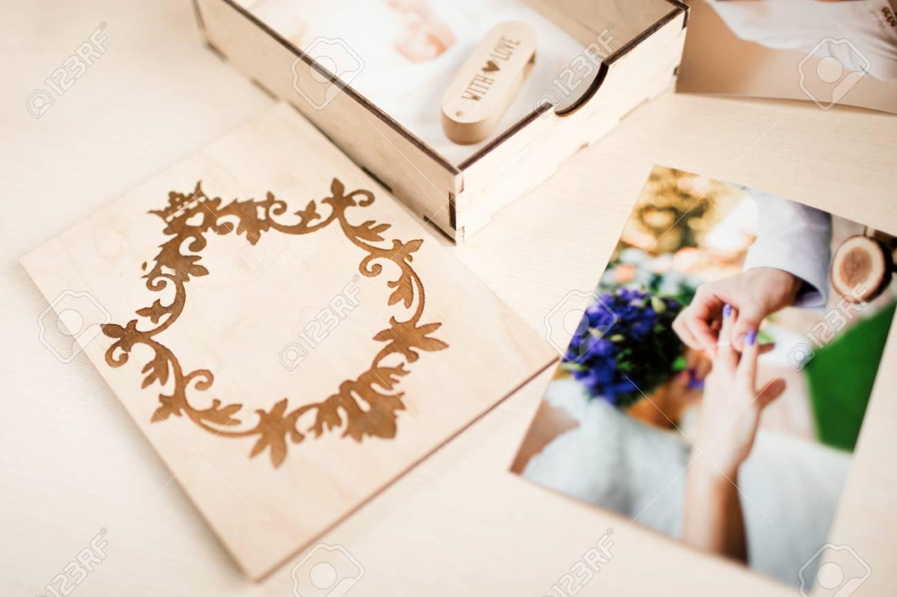 Original gift present. Beautiful wedding photobook and Usb flash drive in Vintage Handmade wooden box
