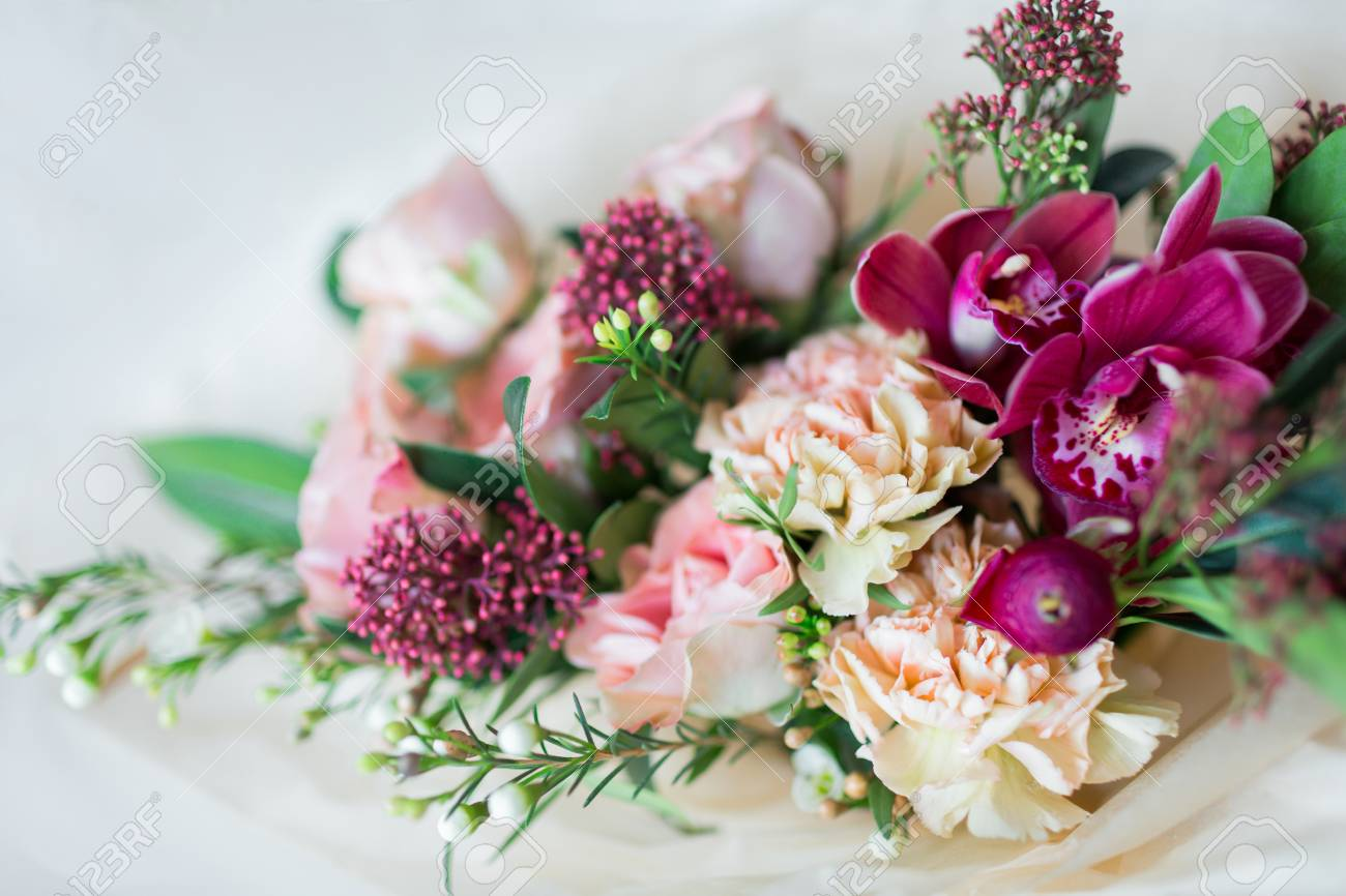 123RF.com & Close-up beautiful luxury bouquet of mixed flowers in glass vases...