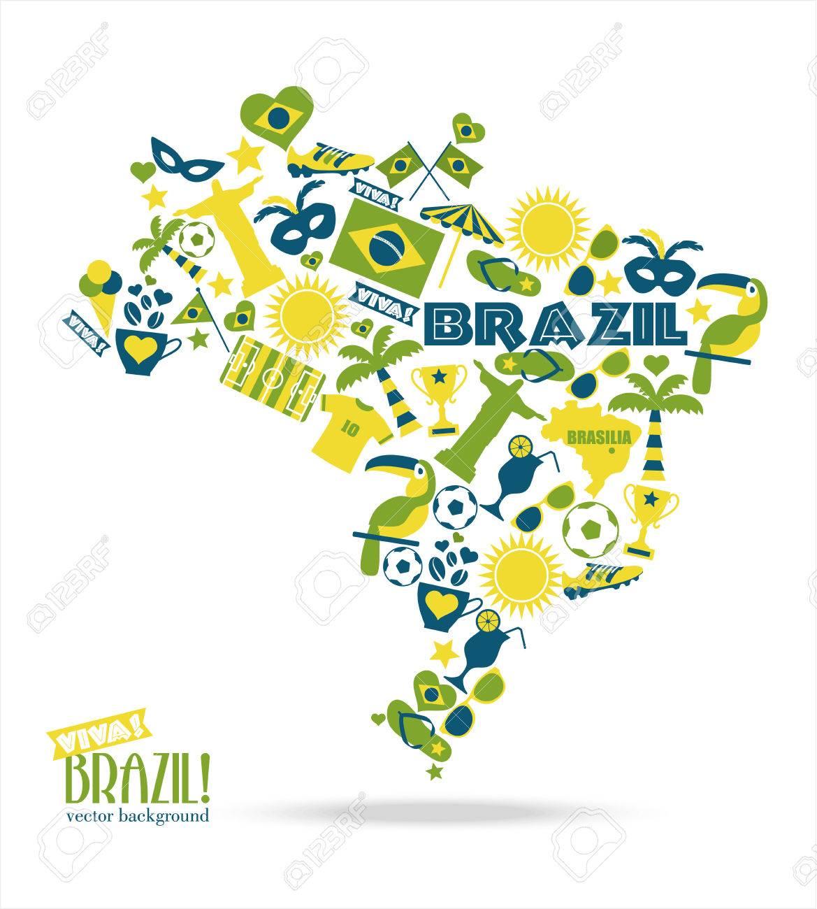 Brazil Background Illustration Map Of Brasil Royalty Free - Brazil map illustration