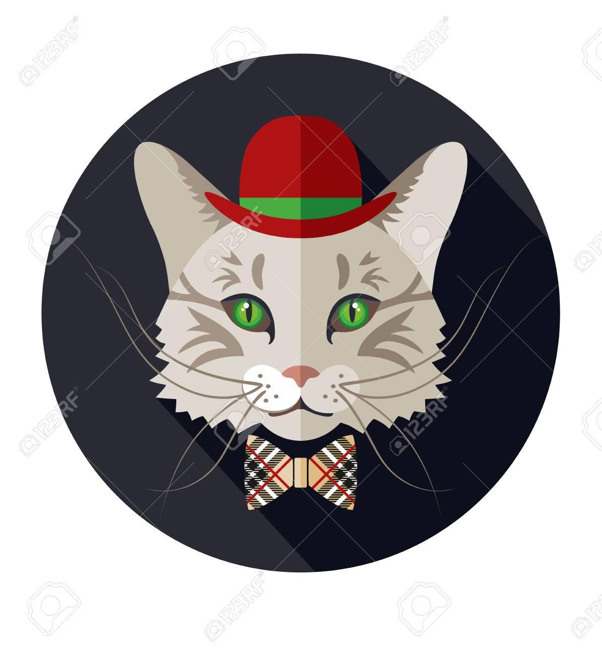 Vecteur animal, portrait de chat, look vintage, chat habillé dans le style  rétro