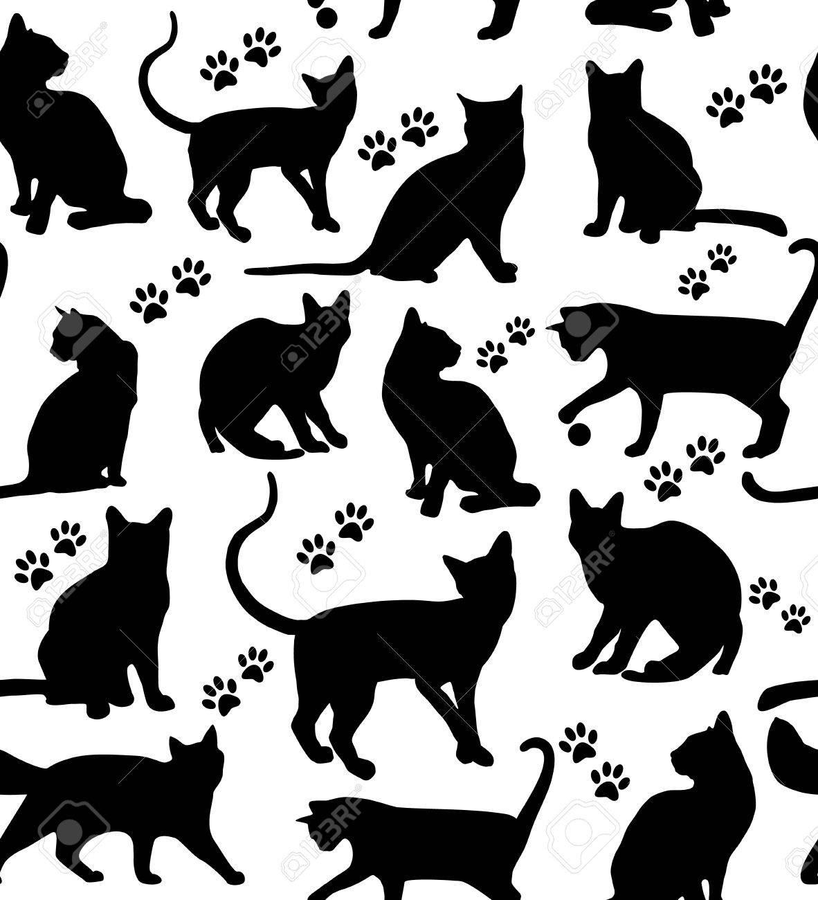 Seamless pattern of animals. Cats pattern on white. Foto de archivo - 38966857