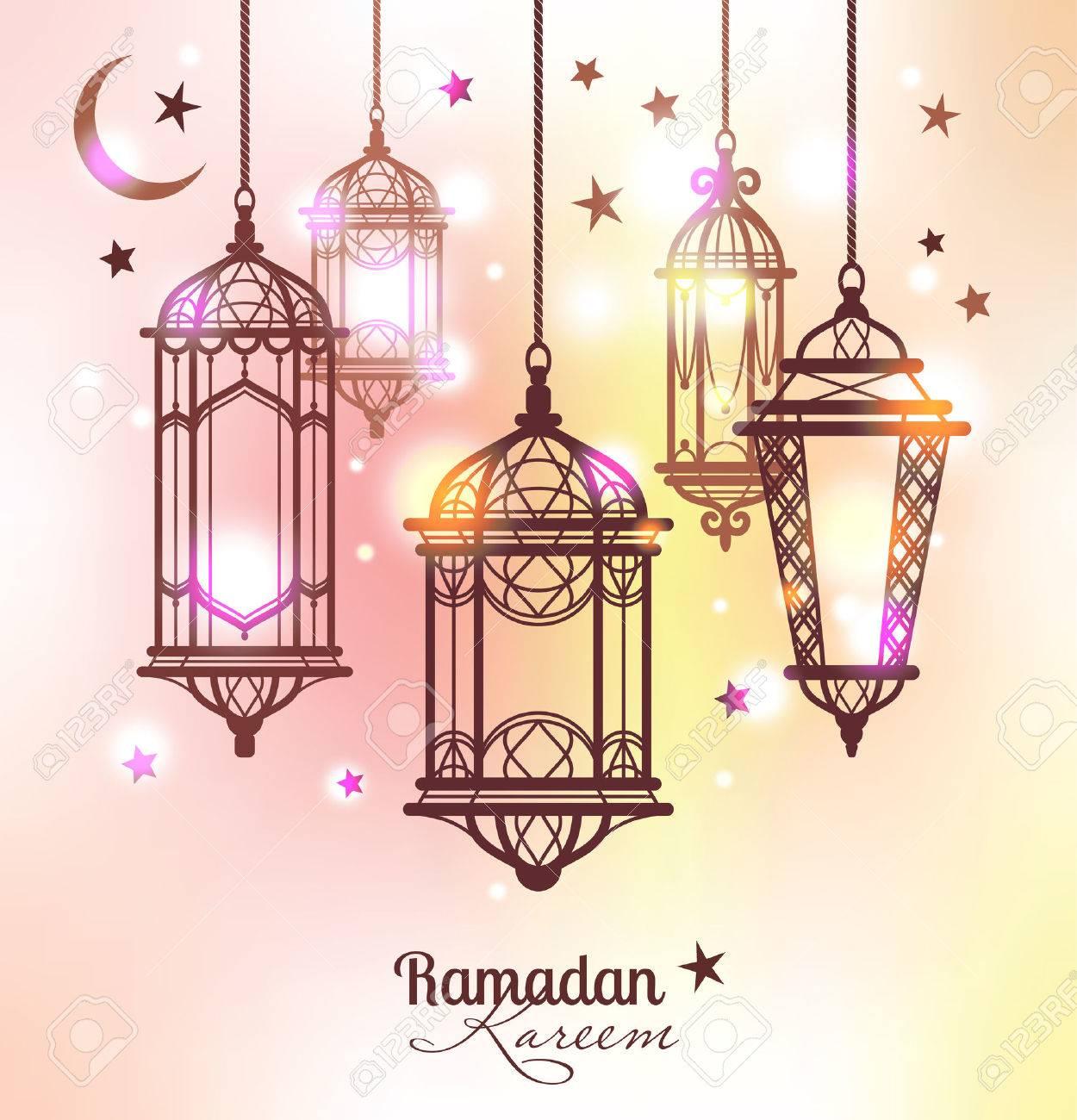 Ramadan Kareem Islamic Background Lamps For Ramadan Stock Vector