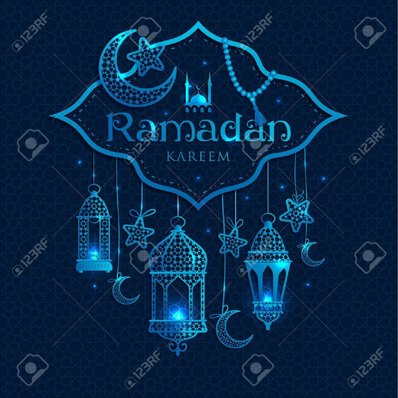 Greeting Card Ramadan Kareem Design With Lamps And Moons Royalty