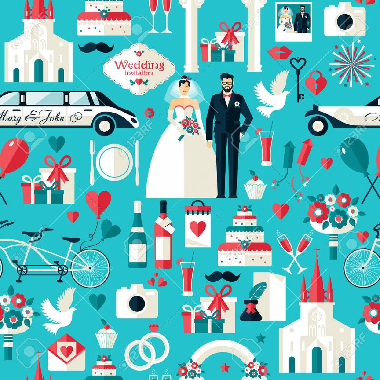 Wedding symbols set. Flat icons for your wedding design.Seamless pattern. Stock Vector - 43668504