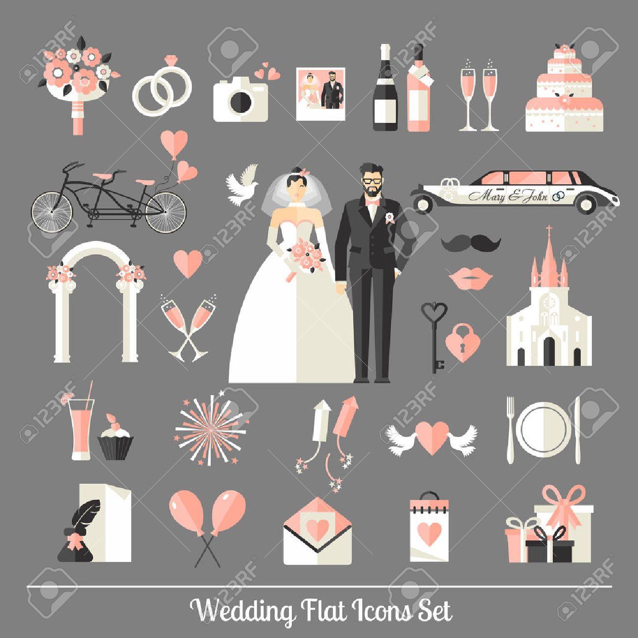 Wedding symbols set. Flat icons for your wedding design. - 43668505