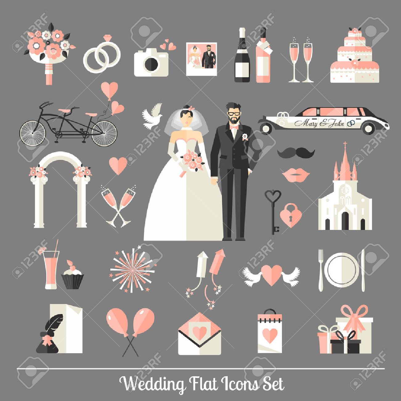Wedding symbols set. Flat icons for your wedding design. Stock Vector - 43668505