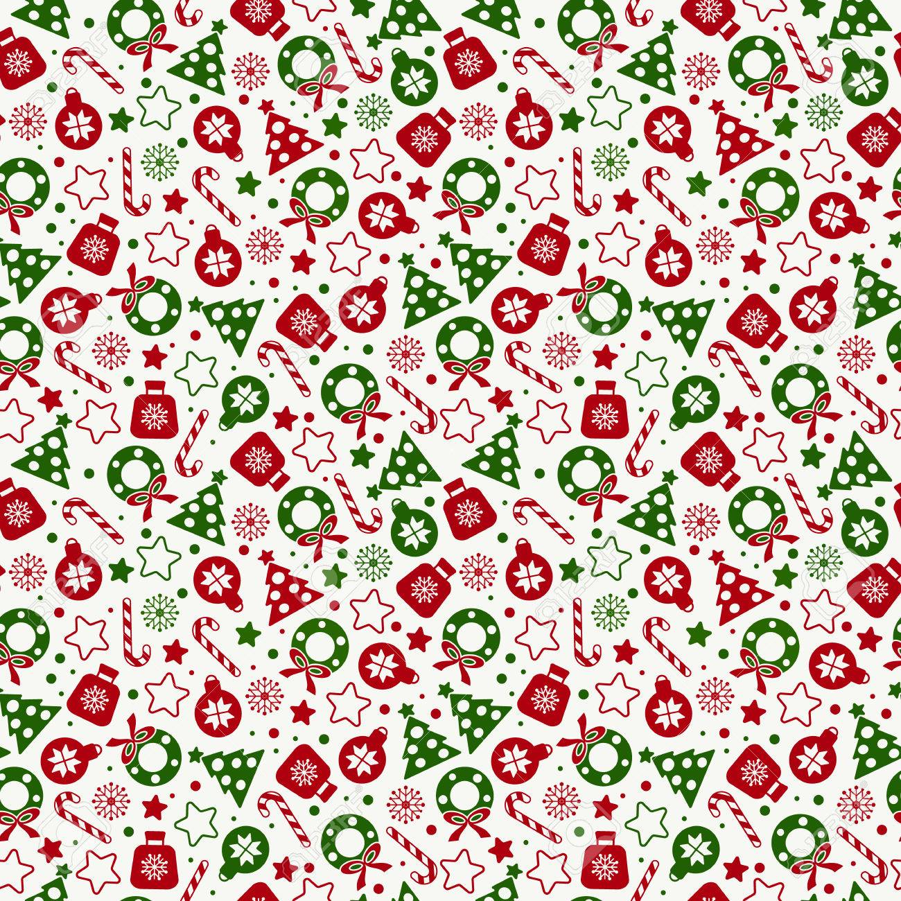 Christmas Texture.Seamless Pattern Of Christmas Texture Icons On White Background